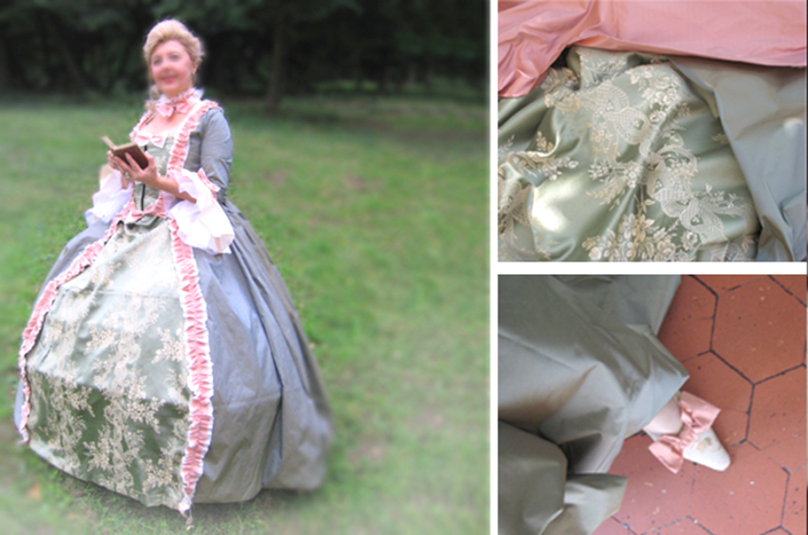 robe à panier, robe des roses, XVIIIe, costumes historiques