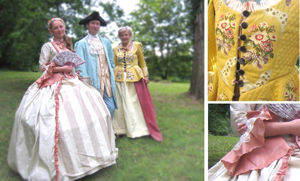 XVIIIe, costumes historiques, robe à panier, roses, robe XVIII, costume historique, costume historique femme, costume historique à vendre