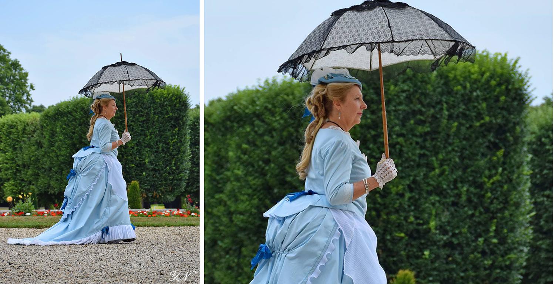 costumes historiques, robe à tournure, robe soie