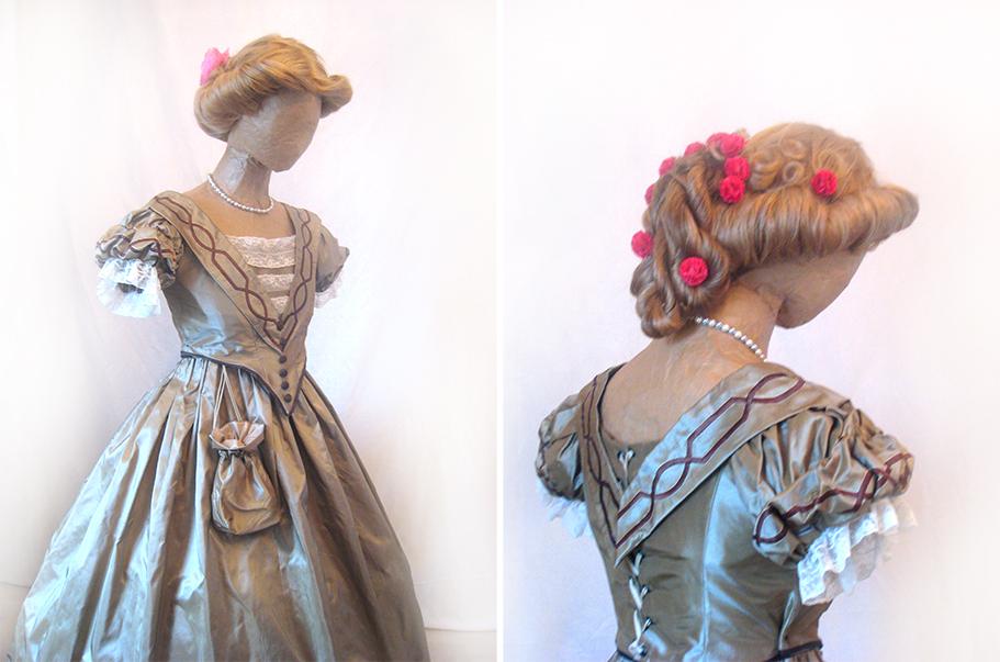 robe à crinoline, robe en soie, costume XIX, costumes historiques, robe XIX, costume historique, costume historique femme, costume historique à vendre