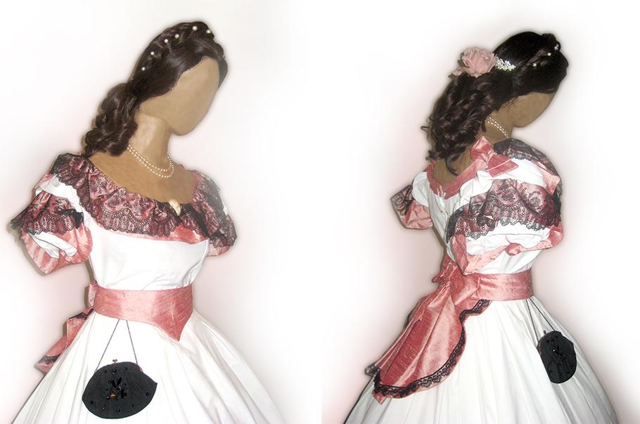 robe XIX, robe en soie, costume XIX, costumes historiques, costume historique, costume historique femme, costume historique à vendre
